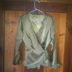 Silk Satin Wrap Front Blouse